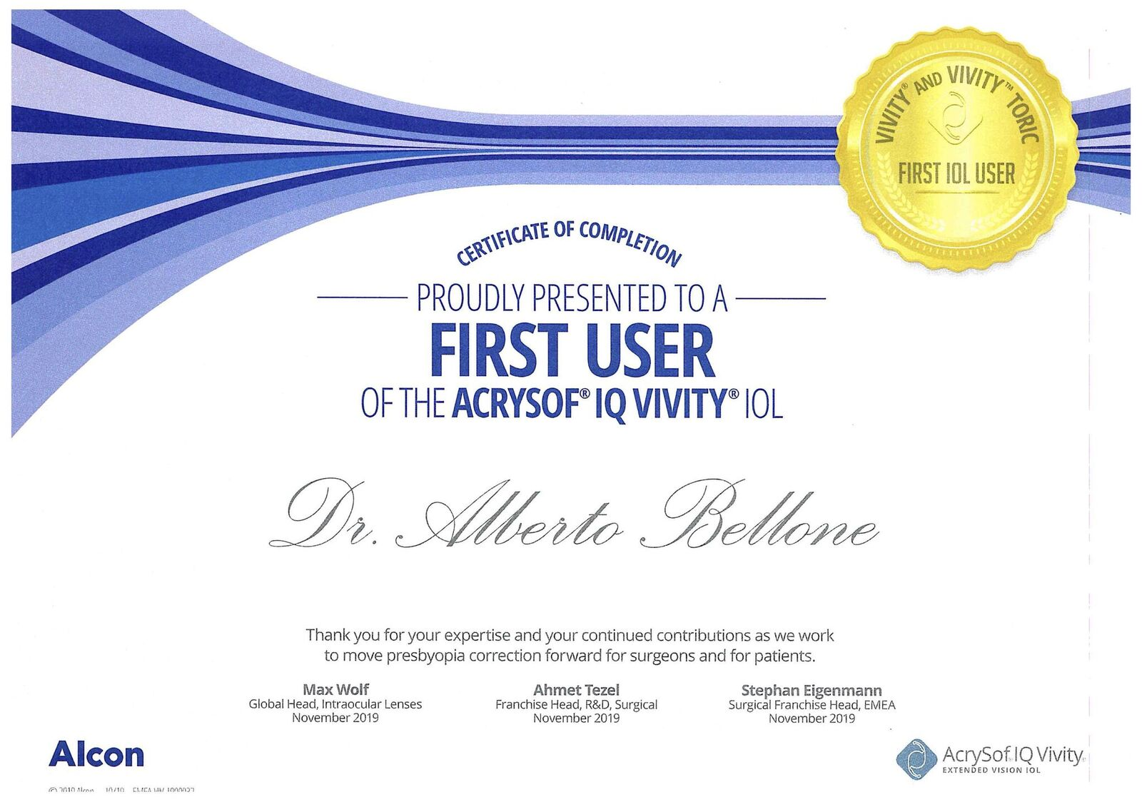 acrysof iq vivity first user certificate