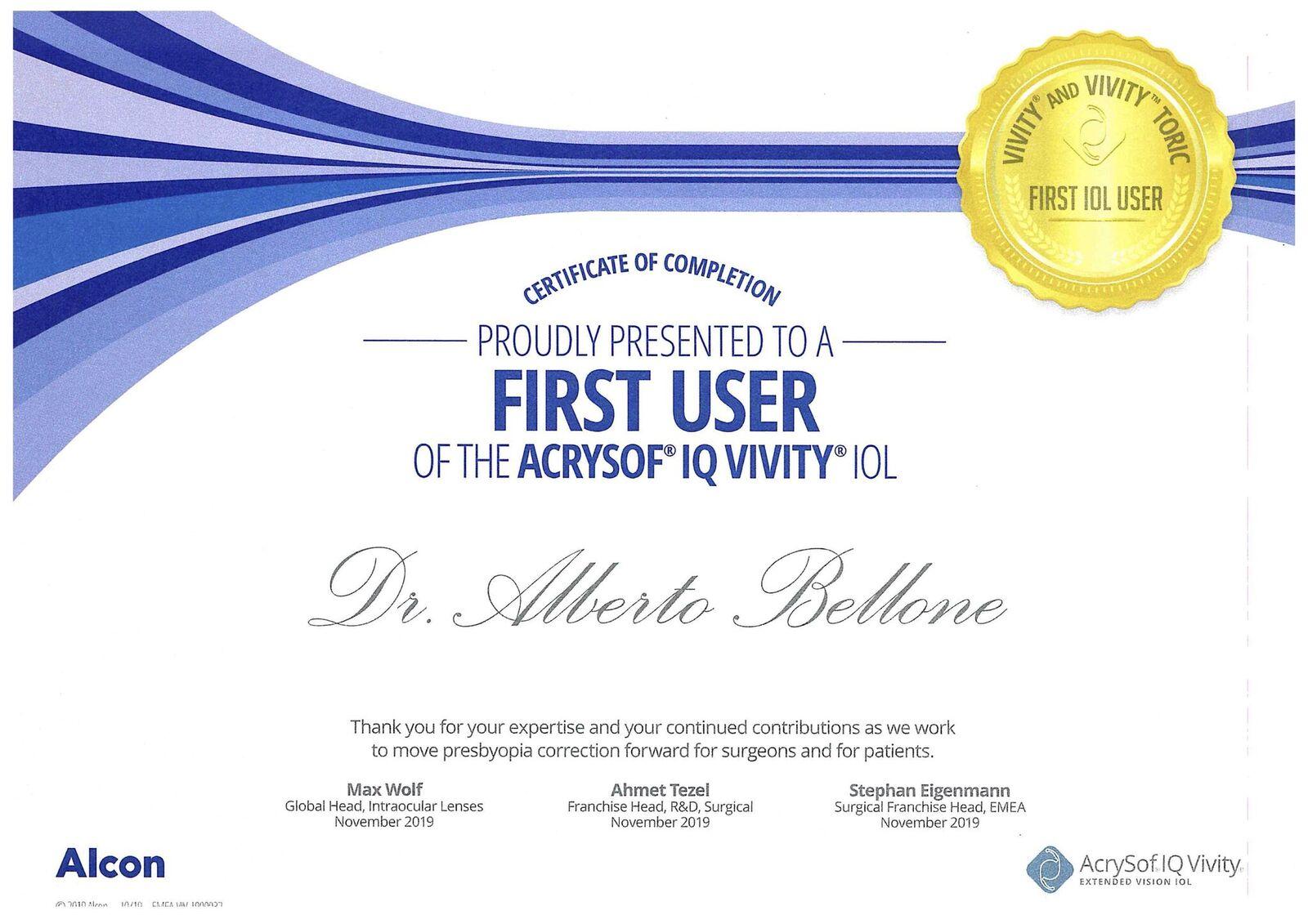 acrysof iq vivity first user certificate